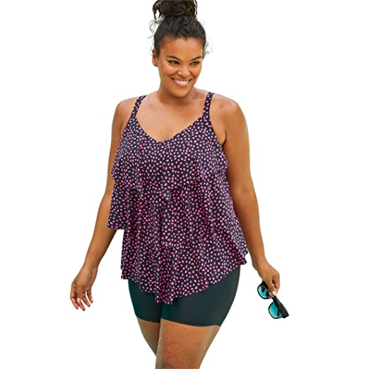 2dc79077a4b75 Roamans Women's Plus Size Tiered-Ruffle Tankini Top - Black Pink Dot, ...