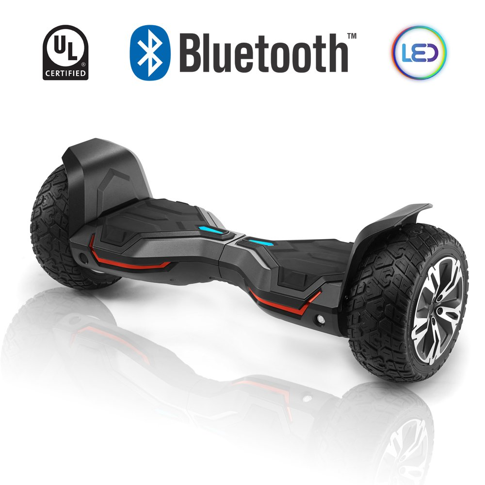 CHO All Terrain Hoverboard Off-Road Smart Self-Balancing Dual Motors Electric Scooter With Built-In Bluetooth Speaker LED Lights UL2272 Certified (Black)