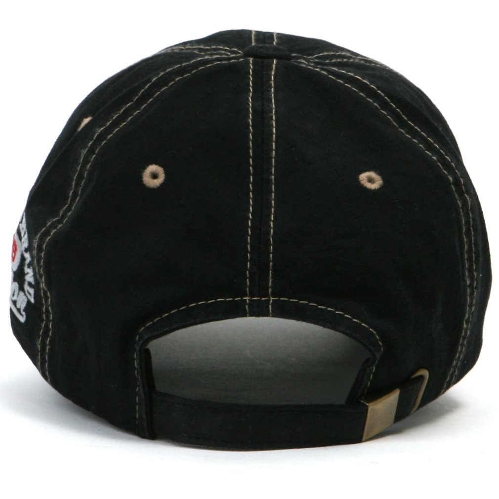 cc34800ba4f ililily Distressed Vintage Pre-curved Cotton embroidered logo Baseball Cap  with Adjustable Strap Snapback Trucker Hat - 507-4 Black  Amazon.co.uk   Clothing