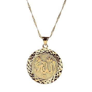 Amazon Com Men Allah Gold Pendant Necklace Link Chain Middle East Charm Islam Round Pendant Beauty