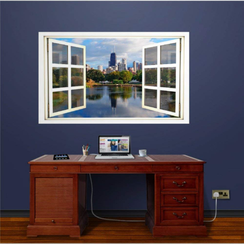 Fake Open Window Window Scape Chicago Morning Illinois Chi Town The Windy City3D Wall Mural Wall Sticker Home Decor Removable Vinyl Decals for Bedroom Living Room