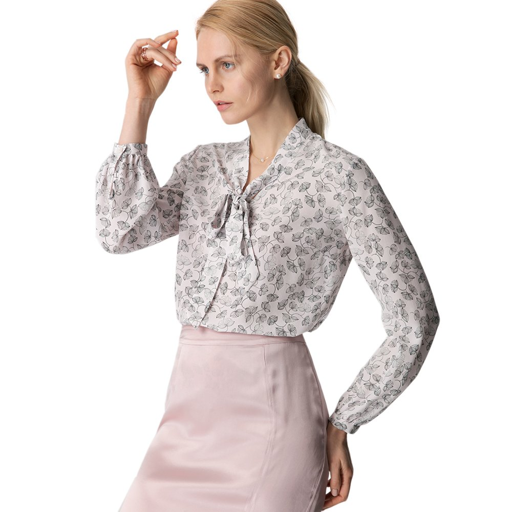 LilySilk Silk Shirts For Women and Ladies Floral Printed Pattern Tie Neck 18MM Pure Mulberry Soft Buttons Long Sleeve Blouse Floral L/12