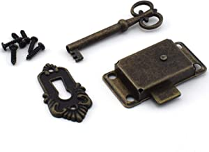 SDTC Tech Retro Desk Drawer Lock Vintage Style Square Spring Latch Lock with Key and Matching Screws for Office Desk/Jewelry Box/Cabinet/Cupboard (Bronze)