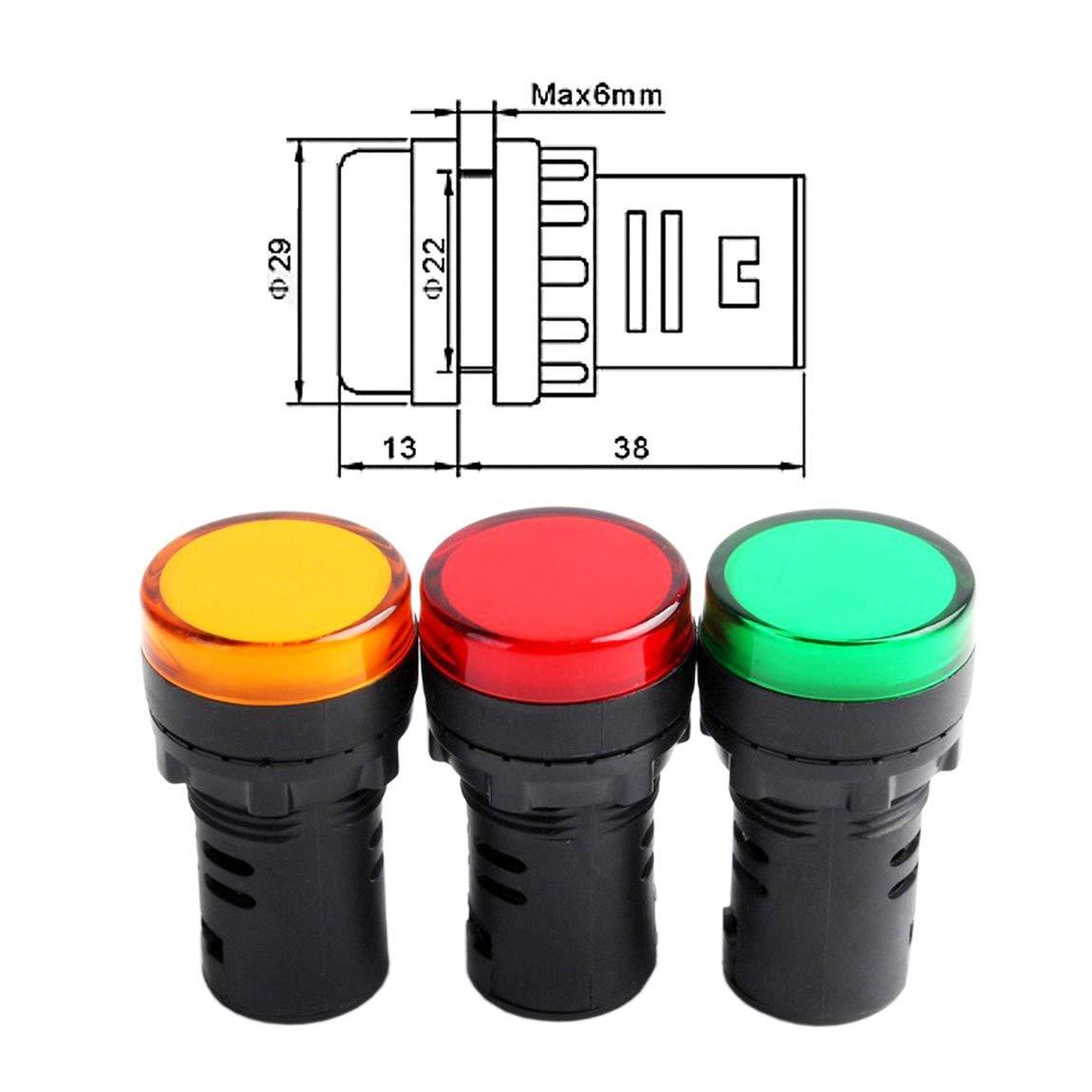 22d//S 12/VDC 20/mA Rouge Vert jaune clair Couleur Lot de 3 Heschen 22/mm Indicateur LED Lampe T/émoin Ad16