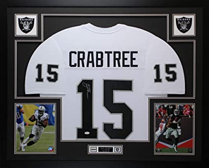 Michael Crabtree Autographed Signed   Framed White Raiders Jersey Signature  Memorabilia - JSA Authentic 6268a0b88