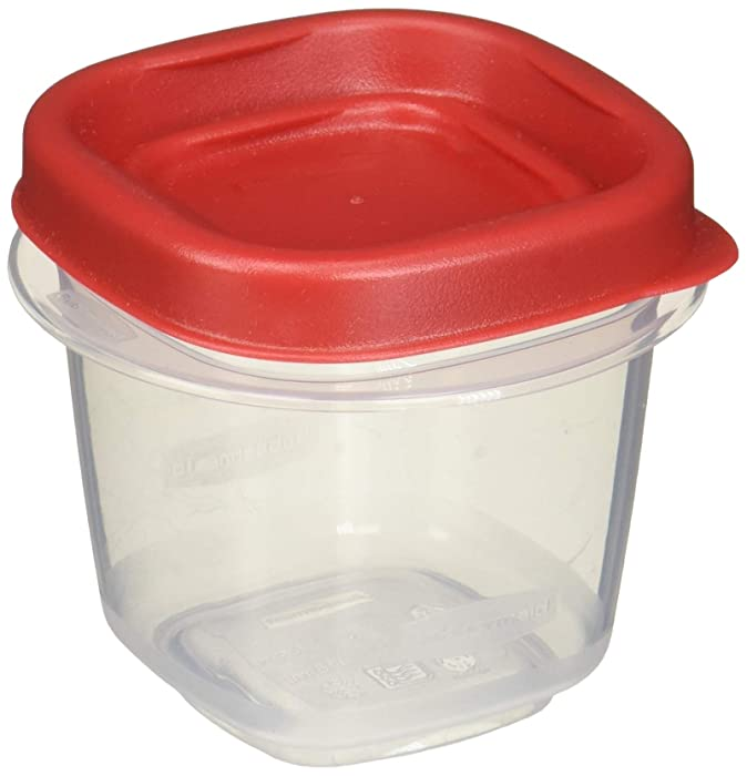 Rubbermaid 712395886298 Easy Find Lids Square 1/2-cup Food Storage Container (Pack of 12 Cups), 12 Counts, Red