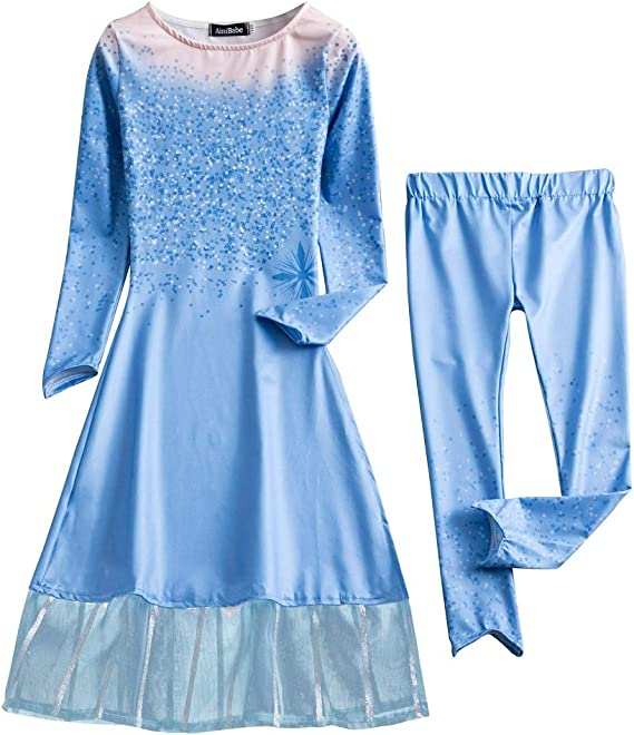 BKSKK Girls Frozen Elsa Anna Costume Cosplay Party Princess Fancy Dress Crown Gift Style 1 3Y
