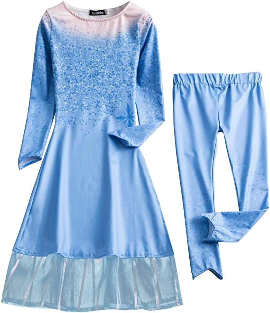 Kids Girl Princess Elsa Anna Halloween Cosplay Costume Fancy Dress/&Crown Cosplay