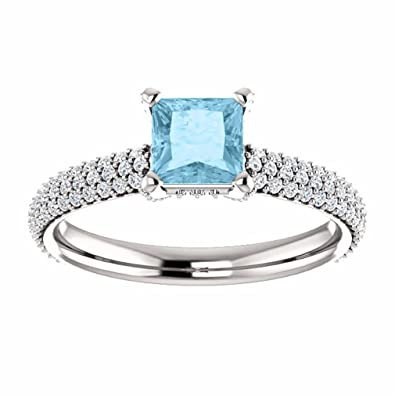 Platinum Aquamarine Engagement Rings