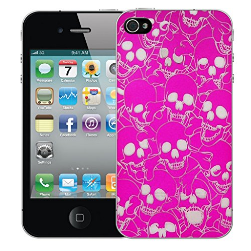 Mobile Case Mate iPhone 4s Silicone Coque couverture case cover Pare-chocs + STYLET - Pink Multi Skull pattern (SILICON)
