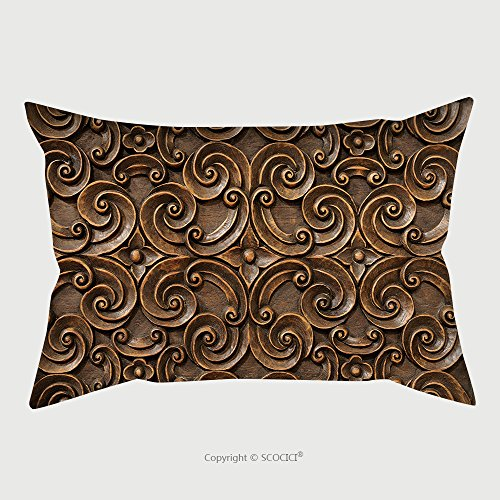 Custom Satin Pillowcase Protector Wood Thai Pattern Handmade Wood Carvings Chiangmai Thailand 67843942 Pillow Case Covers Decorative by chaoran