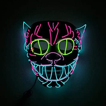 LED Halloween Mask EL Wire Mask Flashing Cosplay LED MASK Glowing Cat Mask Costume Anonymous Mask