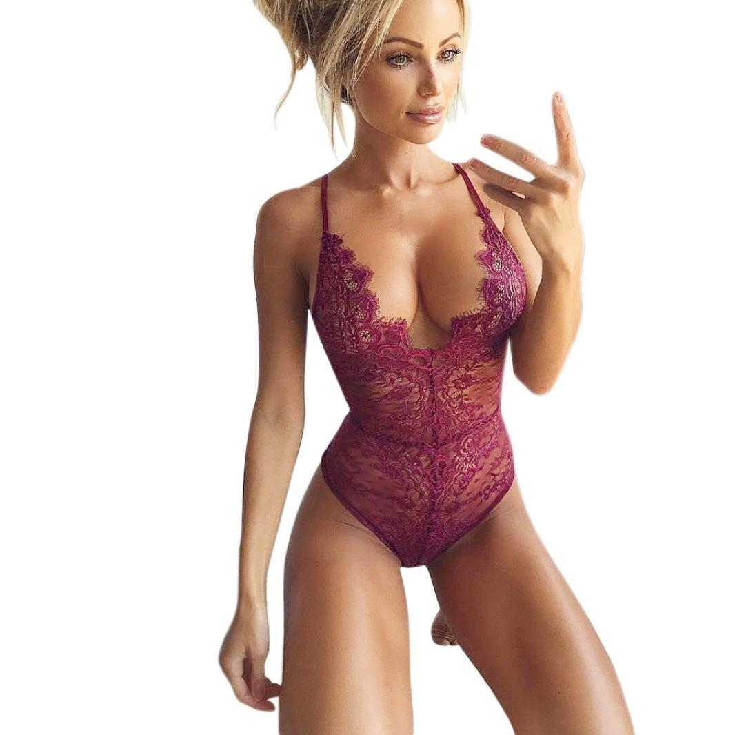 Damen Dessous FORH Mode Frauen Spitze Korsett Rassige Musselin Bodysuit Reizvolle Neckholder V-Ausschnitt Negligee Unterwä sche Body Reizwä sche Overall Bustiers
