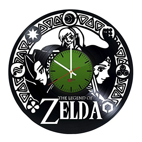 Sheik Costume Legend Of Zelda (Legend of Zelda Wall Clock Made From Used Vinyl Record - Get unique living room wall decor - Gift ideas boys and men,teens – Video Game Character Unique Art Design)