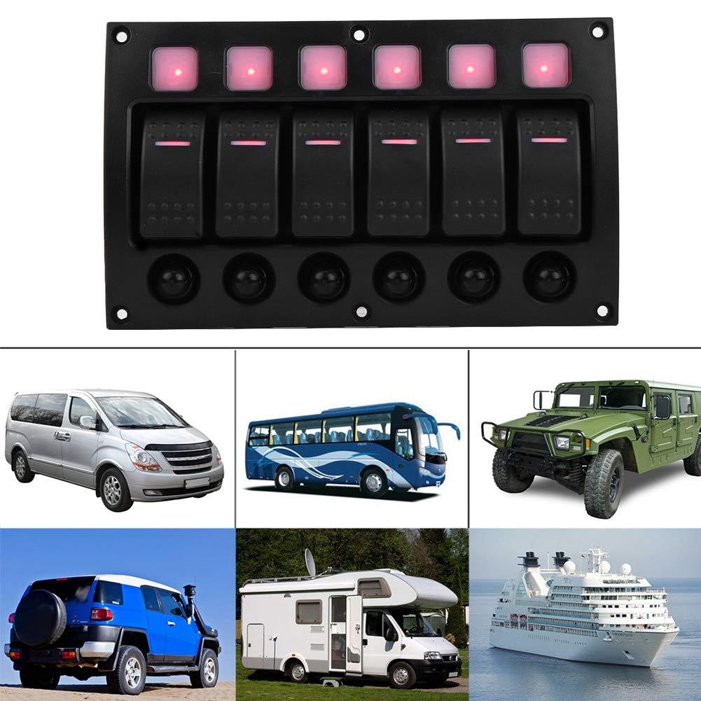 24V Impermeable Panel de interruptor de palanca de On//Off con Disyuntor indicador de luz LED para Coche Barco RV Yate KIMISS 6P 12