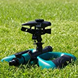 Oasis Ahead Lawn Sprinkler K-200 With Long Range Pulsating Head For Up To 360 Degrees Watering Of Your Garden Including Water Shut Off Valve and Metal Weighted Base with Extra Sprinkler Head