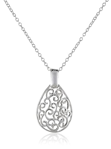 Amazon sterling silver bali filigree teardrop necklace 18 sterling silver bali filigree teardrop necklace 18quot mozeypictures Gallery