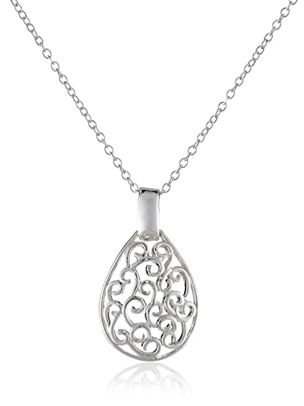 Amazon sterling silver bali filigree teardrop necklace 18 sterling silver bali filigree teardrop necklace 18quot aloadofball Image collections