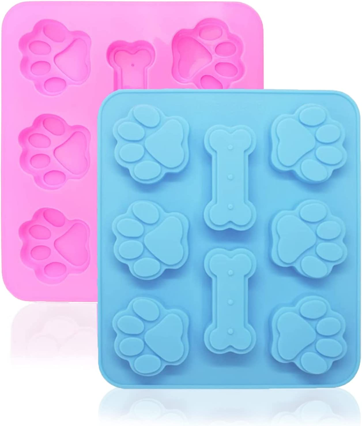 2 Pack Dog Treat Mold,Puppy Dog Paw & Bone Shaped 2 in 1, Reusable Candy Silicone Tray, Easy to clean, Suitable for Microwave Oven, Refrigerator, Oven