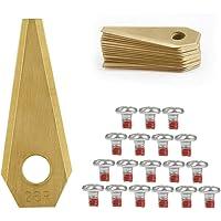 TIMESETL 18 Cuchillas de Repuestos para Bosch indego Titanio para Robots Cortacéspedes+ 18 Tornillos
