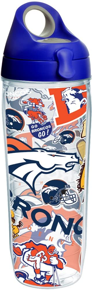 Tervis NFL Denver Broncos All Over Tumbler with Wrap and Blue with Gray Lid 24oz Water Bottle, Clear