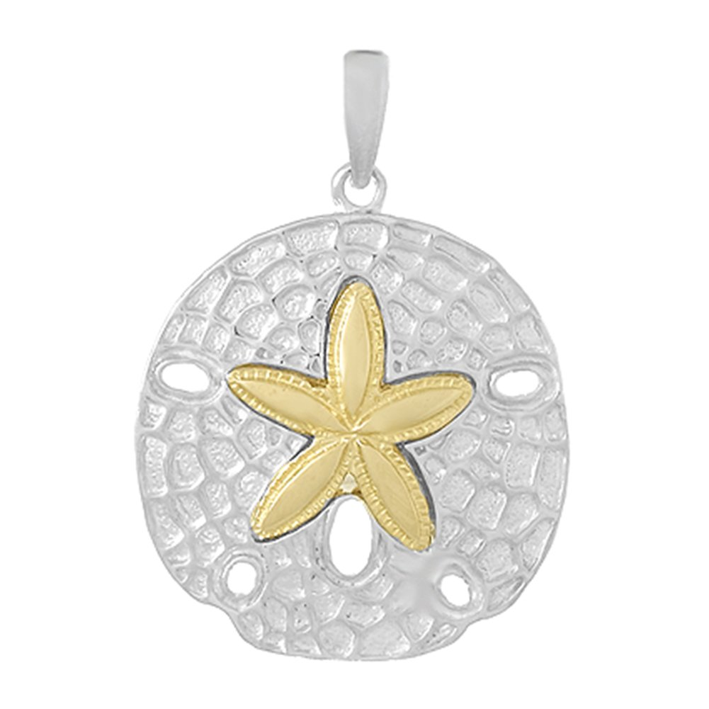 925 Sterling Silver Nautical Charm Pendant, Sand Dollar with 14k Gold Center Star