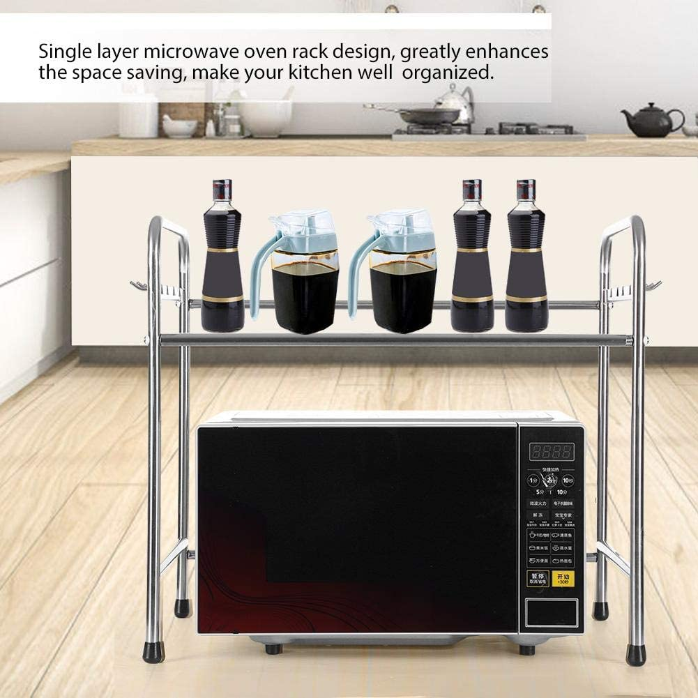Stainless Steel Microwave Oven Shelf Microwave Oven Stand Kitchen Cabinet Counter Shelf Sundries Storage Shelf With Hooks 58x36x51 5cm Microwave Oven Rack Home Kitchen Pot Pan Racks