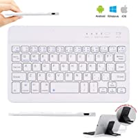 Teclado de Tableta Teclado Bluetooth 3.0 Inalámbrico Recargable Teclado Wireless Bluetooth Keyboard with Rechargeable Battery for Tablet iPad/Apple/Samsung/Acer/Asus/Lenovo/LG with Windows/Android/iOS Blanco