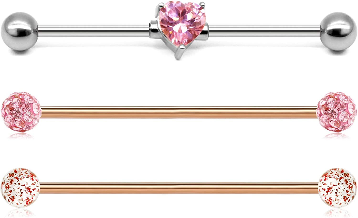 """/""""Pink CZ Heart/"""" 14G Belly Ring Body Jewellery"""