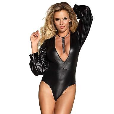 f7278d12be8f3 ohyeahlady Women Faux Leather Lingerie Bodysuit V-Neck Clubwear Tight  Jumpsuit Leotard  Amazon.co.uk  Clothing
