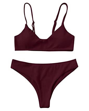 df4faf72e60c28 ZAFUL Bikini Swimwear Sexy Push up Bralette Elegant Cheeky Bottom Swimsuit  Two Piece  Amazon.co.uk  Clothing
