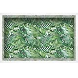 """iPrint 3D Depth Illusion White Wood Frame Style Home Decor Art, Vinyl Wall/Floor Decal Sticker,Wild Palm Trees Leaves Ombre Design Image Decorative,35.4"""" x23.6"""