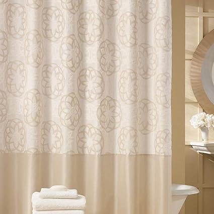 DS BATH Odisha Cream Shower CurtainContemporary CurtainMildew Resistant Polyester Fabric