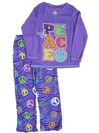 c4f0467f6bb1 Amazon.com  Hanes Girls Purple Peace Pajamas PJS Pajama 2 Piece ...