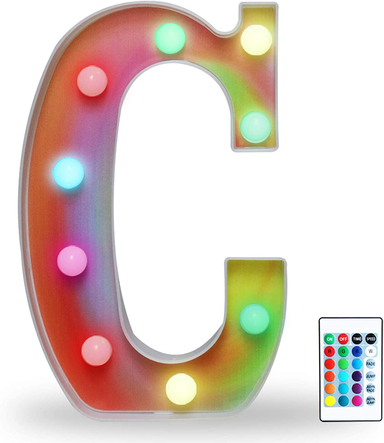 16 Color Changing Rainbow Marquee Letter with Lights, RGB Letter Lights Signs Remote Control Night Light for Valentin's Day, Birthday Party, Wedding, Christmas Decor- Rainbow Letter C