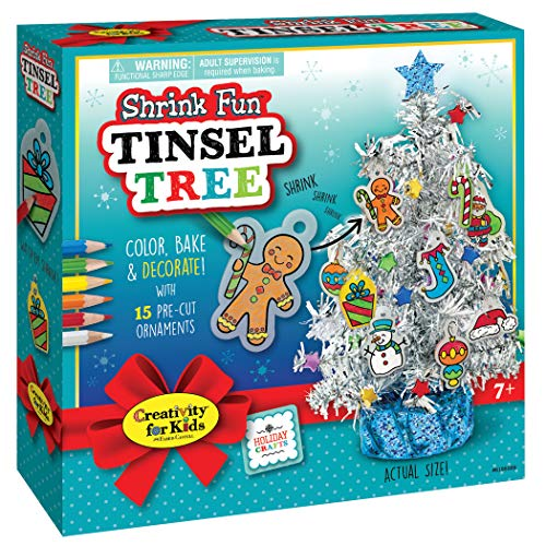 (Creativity for Kids Shrink Fun Tinsel Tree - Decorate A Tiny Tree with Shrink Fun Ornaments - Holiday Crafts for Kids)