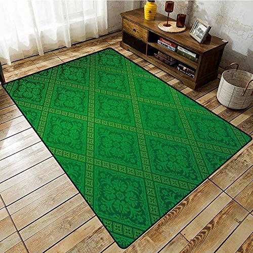 Hallway Rug,Green,Vector Illustration Seamless Pattern of Foliage Wallpaper Pattern Artwork Print,Anti-Slip Doormat Footpad Machine Washable,6'6