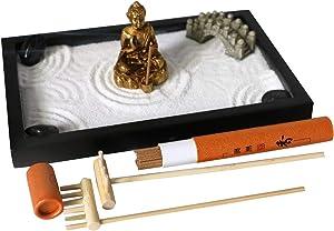 Japanese Tabletop Meditation Zen Garden – Small Office Desktop Miniature Buddha Rock Sand Garden- Mini Desk Zen Gifts Rake Kits Tools Candle Incense Holder Women Man Office Stress Relief Therapy Decor