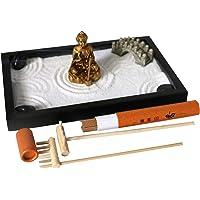 Japanese Tabletop Meditation Zen Garden – Small Office Desktop Miniature Rock Sand Garden- Mini Desk Zen Gifts Rake Kits Tools Candle Incense Holder Women Man Office Stress Relief Therapy Decor