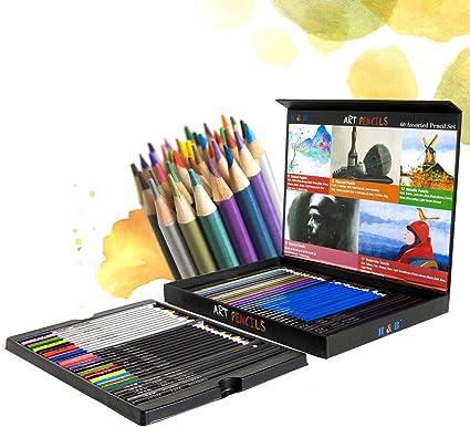 Juego de lápices de colores profesionales con estuche para adultos y niños de Hethrone Art, color 60 pencils: Amazon.es: Oficina y papelería