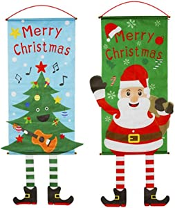 feb.7 Christmas Hanging Flag Decoration,2PCS Christmas Snowman Santa Claus Christmas Tree Cloth Window Pendant Wall Decoration Christmas Hanging Flag for Home Store Xmas Ornaments Banners with Lanyard