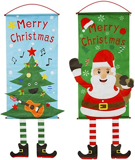Merry Christmas Xmas Snowman Banner Sign Flag Door Window Hanging Decoration New