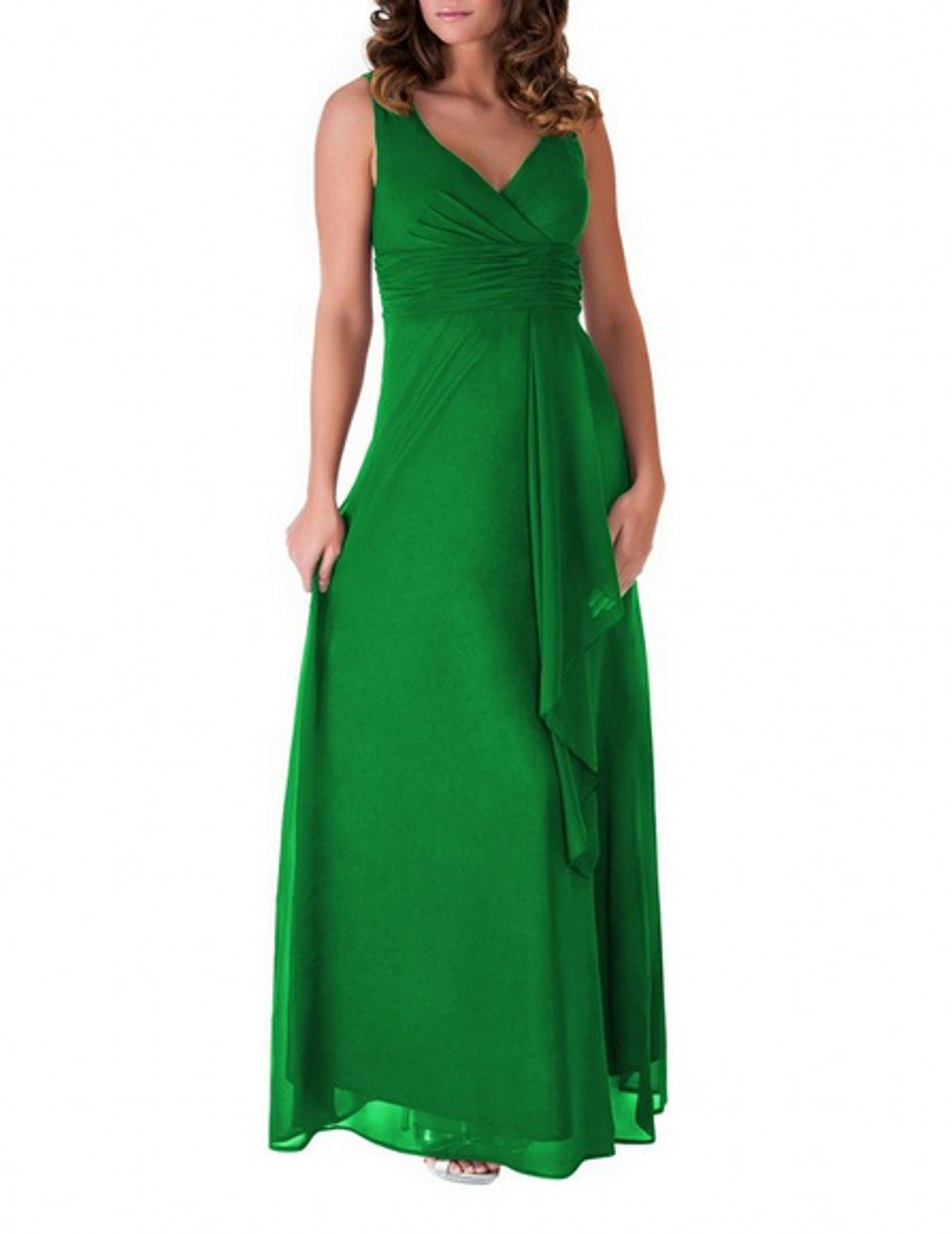 Love Dress V-Neck Long Evening Gown Bridesmaid Formal Prom Party Dress Green Us 16