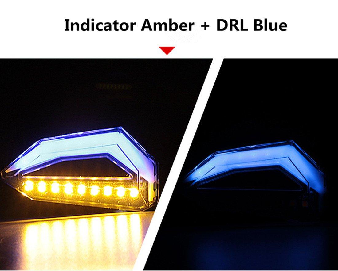 Lot de 2 FEZZ Moto LED Clignotants Indicateurs Direction Ambre Feux de jour DRL Blanc Universel DC 12V /Étanche