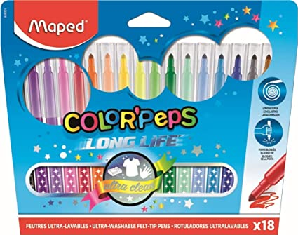 Maped Color Peps Long Life - Pack de 18 rotuladores con ...