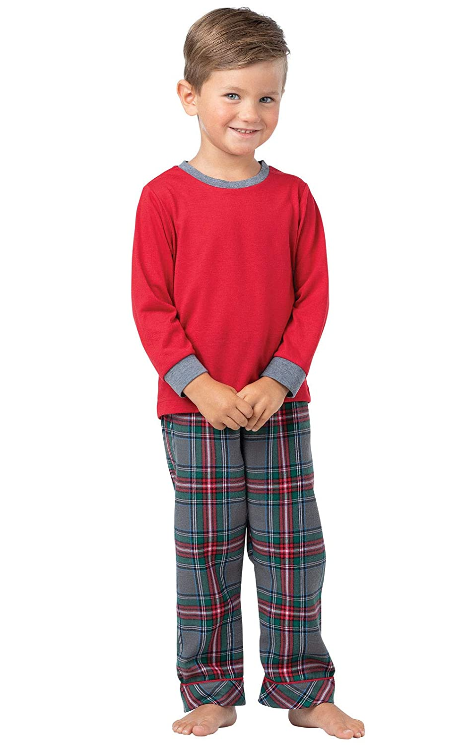 PajamaGram Toddlers' Flannel Classic Plaid Pajamas Long-Sleeved Top GAMV01926