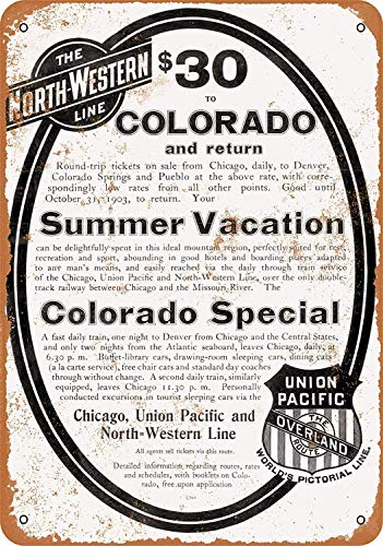 Tisigns Vintage Metal Tin Sign 8 x 12 Inch - 1903 Union Pacific Railroad North-Western - Wall Decor
