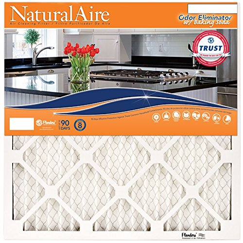 NaturalAire Odor Eliminator Air Filter with Baking Soda, MERV 8, 18 x 18 x 1-Inch, 4-Pack by Flanders