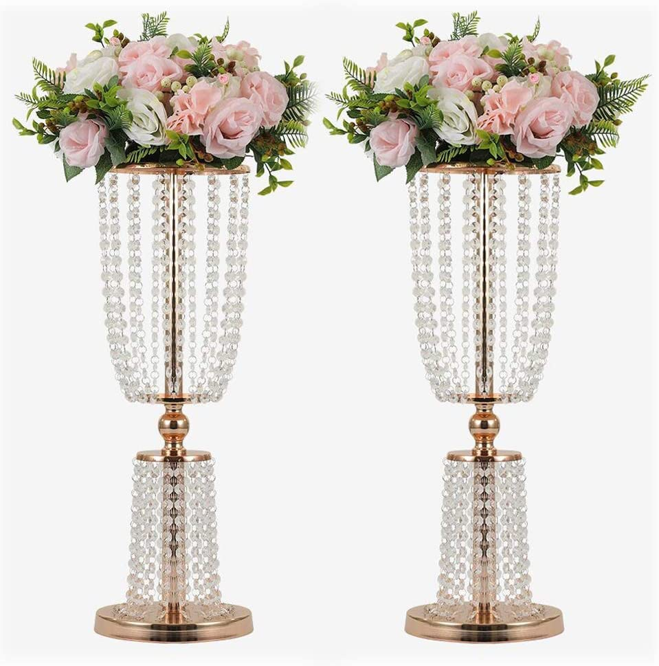 Amazon Com 2pcs Acrylic Crystal Centerpiece Wedding Backdrop Flower Vase Candleholder Table Stand Party Decoration Road Lead Frame Wedding Decorationdecor Decorations Room Decoration Gold 23 75 Kitchen Dining