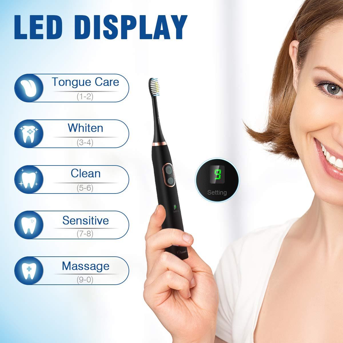 Ovonni Cepillo dientes eléctrico sónicos recargable,5 Modos 10 Potencia con 2 Cabezales de Recambio, LED Pantalla, Regalo Caja de Viaje, IPX 7 Impermeable, ...